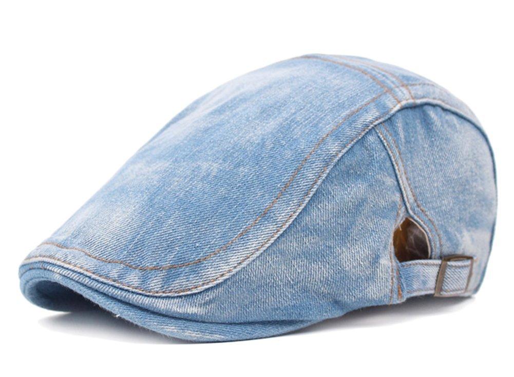 Azul Claro Xuxuou 1 Pieza de Sombrero de Boina Vaquera Gorra con Visera Casquillo del Sol Protector Solar Sombreros De Viajes para Unisex-Adult Size 56-60 cm
