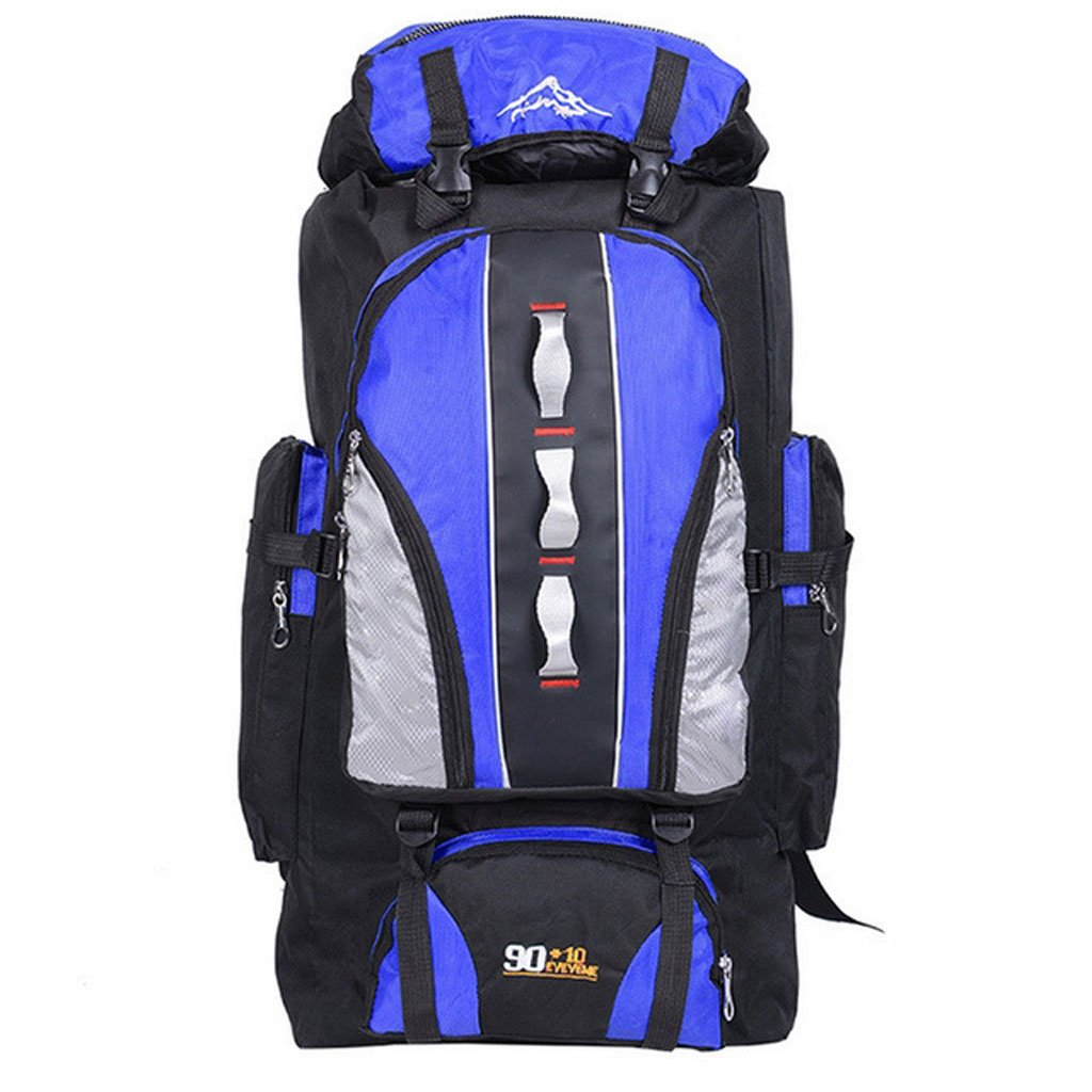zmlsxuアウトドアiarge-capacity旅行バッグ90l防水メンズandレディース旅行キャンプバックパックブラックブルーレッド B07DSD4L3H ブルーA
