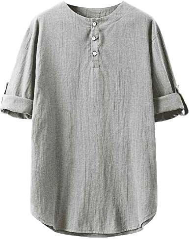 Mfasica Mens Button Down Fashion Short Sleeve V Neck Loose Casual Shirt Tops