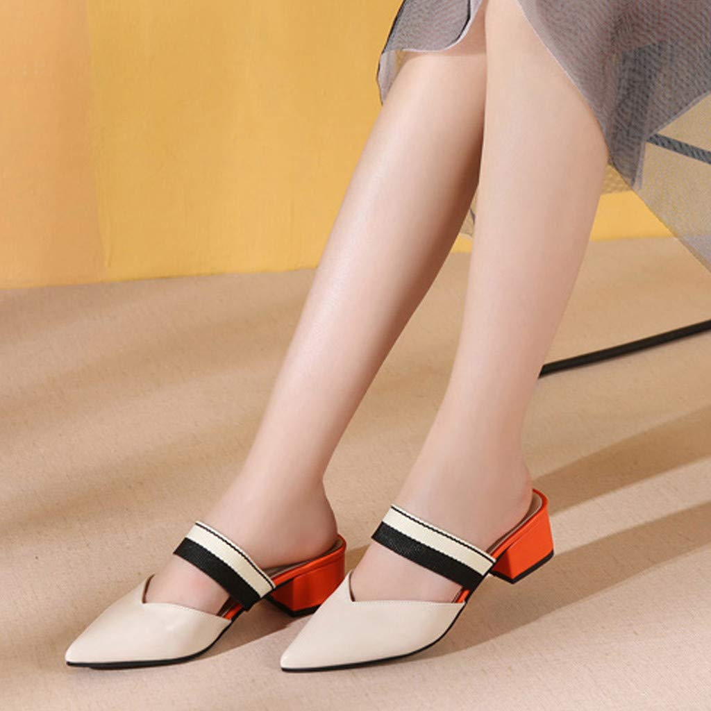 Women Loafers Sandals Pointed Toe Med Square Heel Color Block Work Party Single Shoes Fashion Casual Comfort Shoes Daoroka