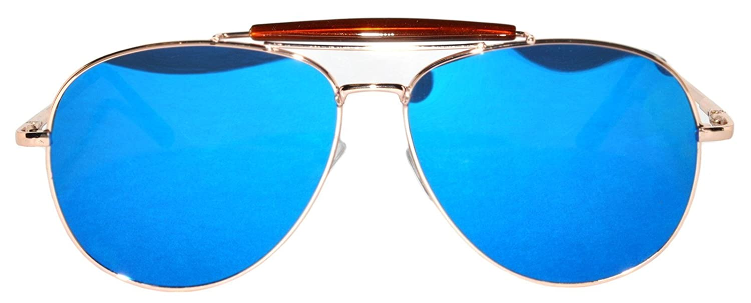 f145522e7b3 Flat Mirror Blue Lens Revo Aviator Sunglasses Gold Metal Frame  Amazon.in   Clothing   Accessories
