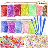 Slime Beads, ONME Fishbowl Beads - DIY Slime Beads, ONME Fishbowl Beads - DIY for Crunchy Slime, Clear Vase Filler Beads, Kids Crafts for Party Decoration or Wedding (Plastic, 12 Colors) (Color 1)