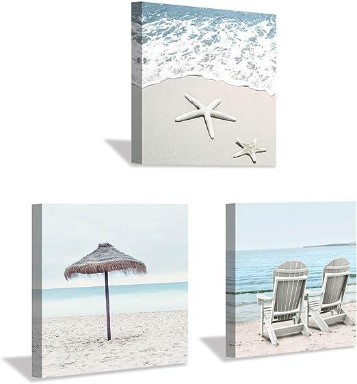 Amazon Com Beach Theme Canvas Wall Art Sun Umbrella Starfish Beach Chair On Sand Artwork Painting Print For Bedroom Office 12 X 12 X 3 Panels Home Kitchen