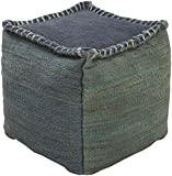 Surya POUF-248 100-Percent Jute Pouf, 18-Inch by 18-Inch by 18-Inch, Slate/Forest