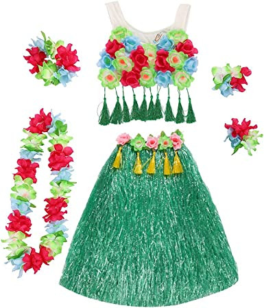 Amosfun Hawaii Tropical Hula Grass Baile Falda Flor Pulseras Head ...