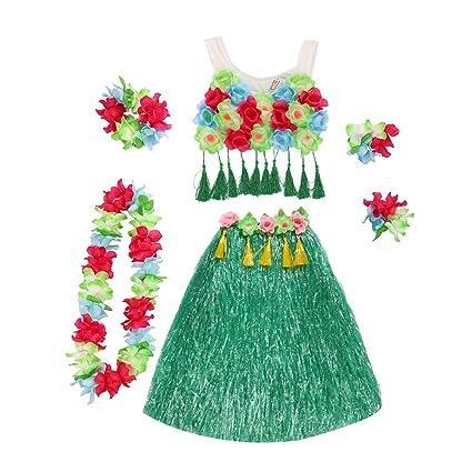 ca6639a2ab4 Buy TENDYCOCO Hawaii Dancing Hula Set Grass Skirt Adult Costume ...