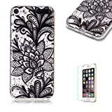 For iTouch 5/6 Case [with Free Screen Protector],Funyye Soft TPU Gel Case Cute Simple [Colorful Painting Pattern] Ultra Slim Flexible Protective Skin Back Cover for iTouch 5/6 - Black Flower