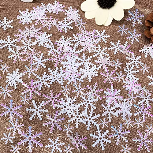 OuMuaMua 800Pcs Christmas White Snowflakes Confetti Decorations - Winter Confetti Snow Party Pack for Christmas Wedding Birthday Holiday Party Table Decorations -