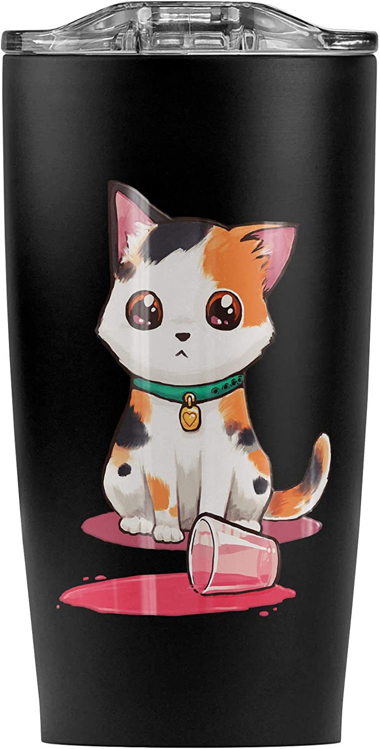 Kawaii Cute Cat Spilled Glass Of Water Stainless Steel 20 oz Travel Tumbler, Vacuum Insulated & Double Wall with Leakproof Sliding Lid | Great for Coffee/Hot Drinks and Cold Beverages