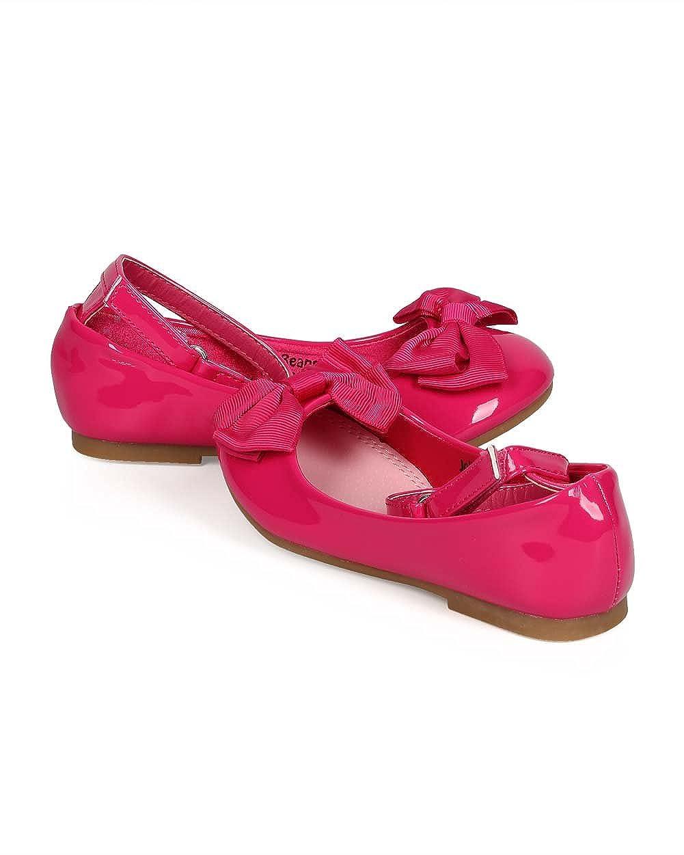 EC10 Toddler Fuchsia Girl Patent Round Toe Ankle Strap Bow Ballet Flat