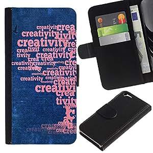 All Phone Most Case / Oferta Especial Cáscara Funda de cuero Monedero Cubierta de proteccion Caso / Wallet Case for Apple Iphone 6 // Word Art Creative Creativity Tree
