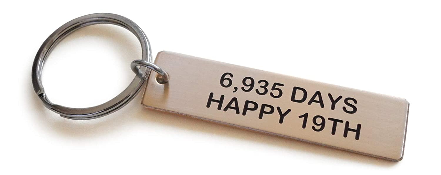 Bronze Tag Keychain Engraved6,935 Days, Happy 19th-19 Year Anniversary JewelryEveryday 32914000474