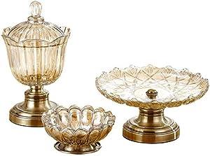 Fruit Plate Set, Crystal Glass Fruit Bowl + Candy Jar + Fruit Bowl, Kitchen Accessories Set, Family/Bar/Gazebo/Office