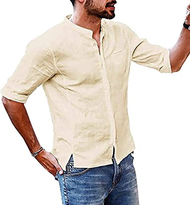 CFWL Camisa de Manga Larga de Lino con Cuello Alto, Camiseta para Hombre Cuello Redondo Suave básica Camiseta Hombre T-Shirt 3D Impresos de Casual Camiseta de Manga: Amazon.es: Ropa y accesorios