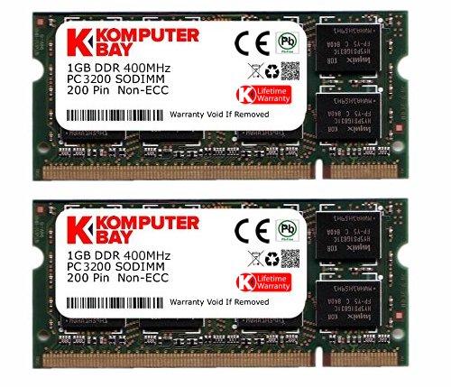 KOMPUTERBAY 2GB (2x1GB) DDR SODIMM (200 pin) 400Mhz DDR400 PC3200 LAPTOP MEMORY