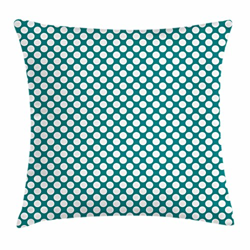Ambesonne Teal Throw Pillow Cushion Cover, Polka Dotted Pattern Traditional Style European Inspired and Vibrant Colored Image, Decorative Square Accent Pillow Case, 26 X 26 Inches, Teal White