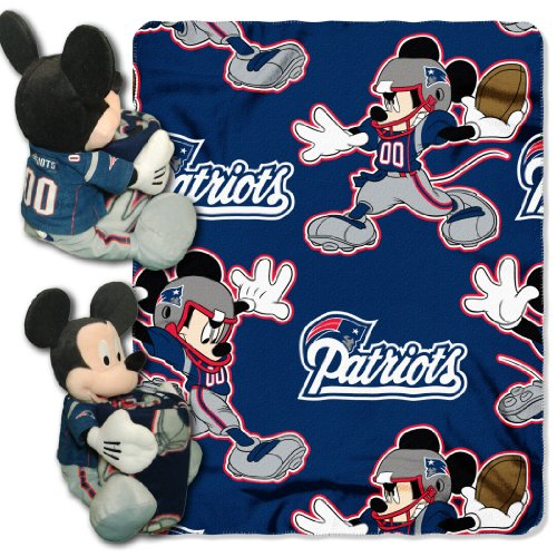 The Northwest Company Officially Licensed NFL New England Patriots Co Disney's Mickey Hugger and Fleece Throw Blanket Set