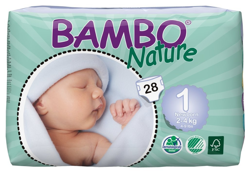 Bambo Nature Baby Diapers Classic, Size 1 (4-9 lbs), 28 Count