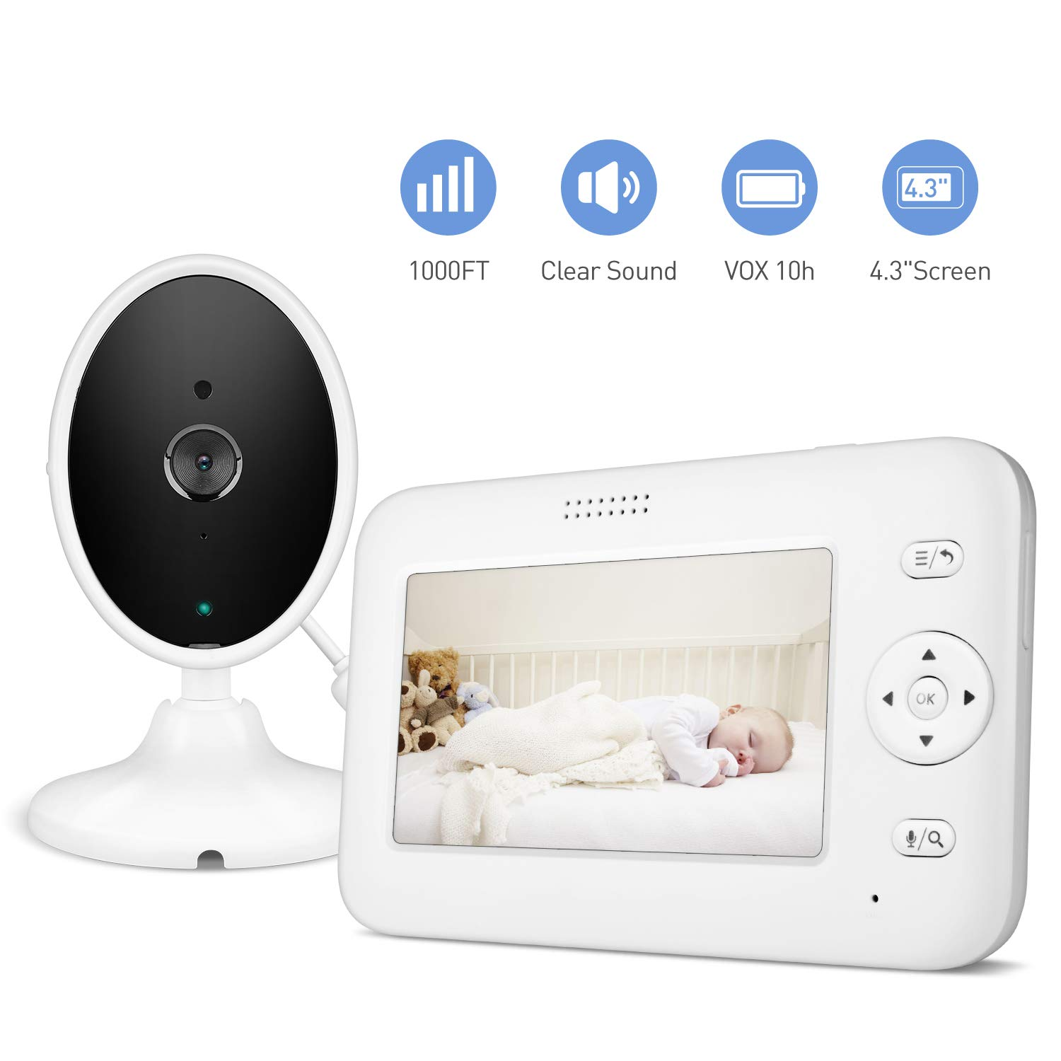 Baby Monitor, 4.3'' Video Baby Monitor with Camera Audio, Long Battery Life/VOX, 1000ft Range, Room Temperature & Accurate Audio Sensor, Infrared Night Version, 2-Way Audio, Out of Range Alert
