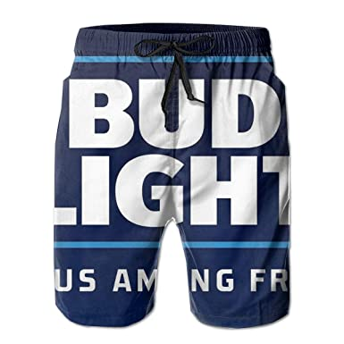 5a1adb1b90927 Bud Light Print Design Mens Swim Trunks Summer Quick Dry Board Shorts with  Mesh Lining/