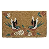 "Cheap Entryways Swallows Tattoo Handmade, Hand-Stenciled, All-Natural Coconut Fiber Coir Doormat,  18"" X 30"" X .75"""