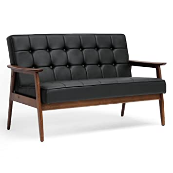 Amazon.com: Baxton Studio Stratham Mid Century Modern Sofa, Black: Kitchen  U0026 Dining
