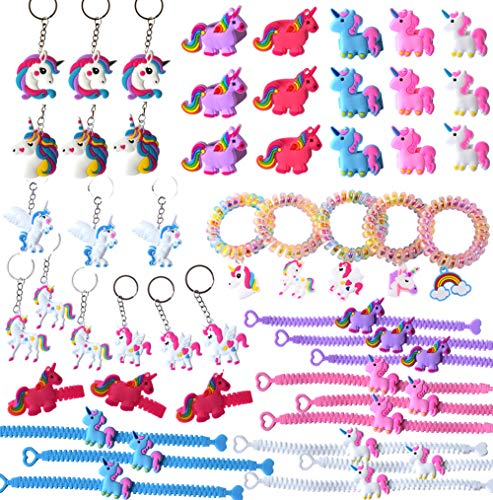 50 Pcs Unicorn Party Favors Supplies Wristbands Keychains Bracelets Rings Goody Bags Filler Set Photo Props Unicorn Birthday Theme Party Halloween Cosplay Christmas Gift ()