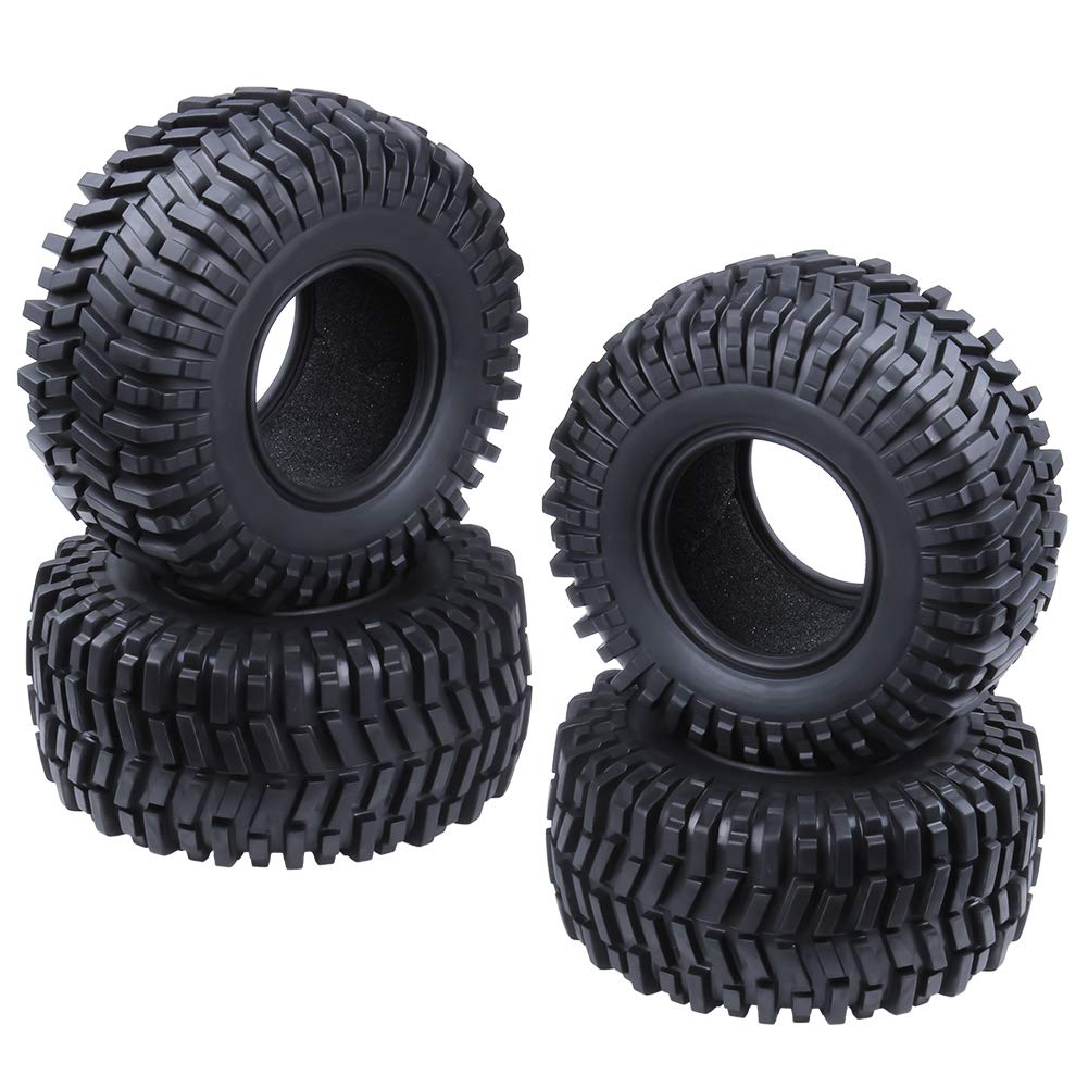Hobbypark 2.2'' Tires with Foam Inserts Beadlock Wheel Rims Tyres for 1/10 RC Rock Crawler Truck Replacement All Terrain (4-Pack)