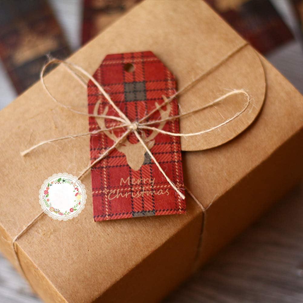 Lot de 100 /étiquettes de cadeau de No/ël Kraft Papier De No/ël /Étiquettes De Cadeau avec 3M Corde Suspendue pour D/écoration de No/ël Pr/ésent,10 Design Multicolore Papier /à Suspendre Cartes