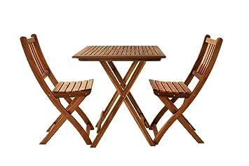 SAM® Conjunto para jardín o balcón, mueble de madera de acacia, 3 piezas, 1 mesa + 2 sillas plegables aceitadas, con vetas muy bonitas, certificadas ...