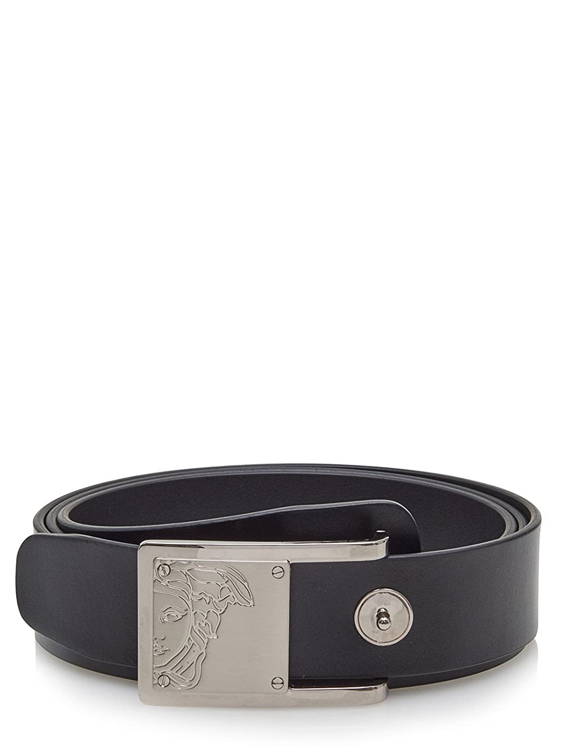 Versace Collection Men S Black Leather Half Medusa Belt 201
