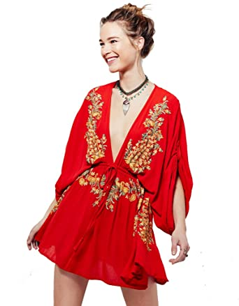 90630d04c15 Elegeet Flower Embroidery Drawstring Swimsuit Cover up Beach Dress red at  Amazon Women's Clothing store: