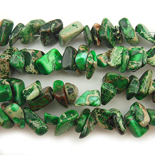 - COIRIS 15'' Strand 9-14MM Real Natural Green Imperial Jasper Chips Stone Loose Beads for Necklace Jewelry DIY Making Design (St-1075)