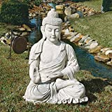 Design Toscano Meditative Buddha of the Grand Temple Garden Statue, Giant 47 Inch, Fiberglass Polyresin, Antique Stone