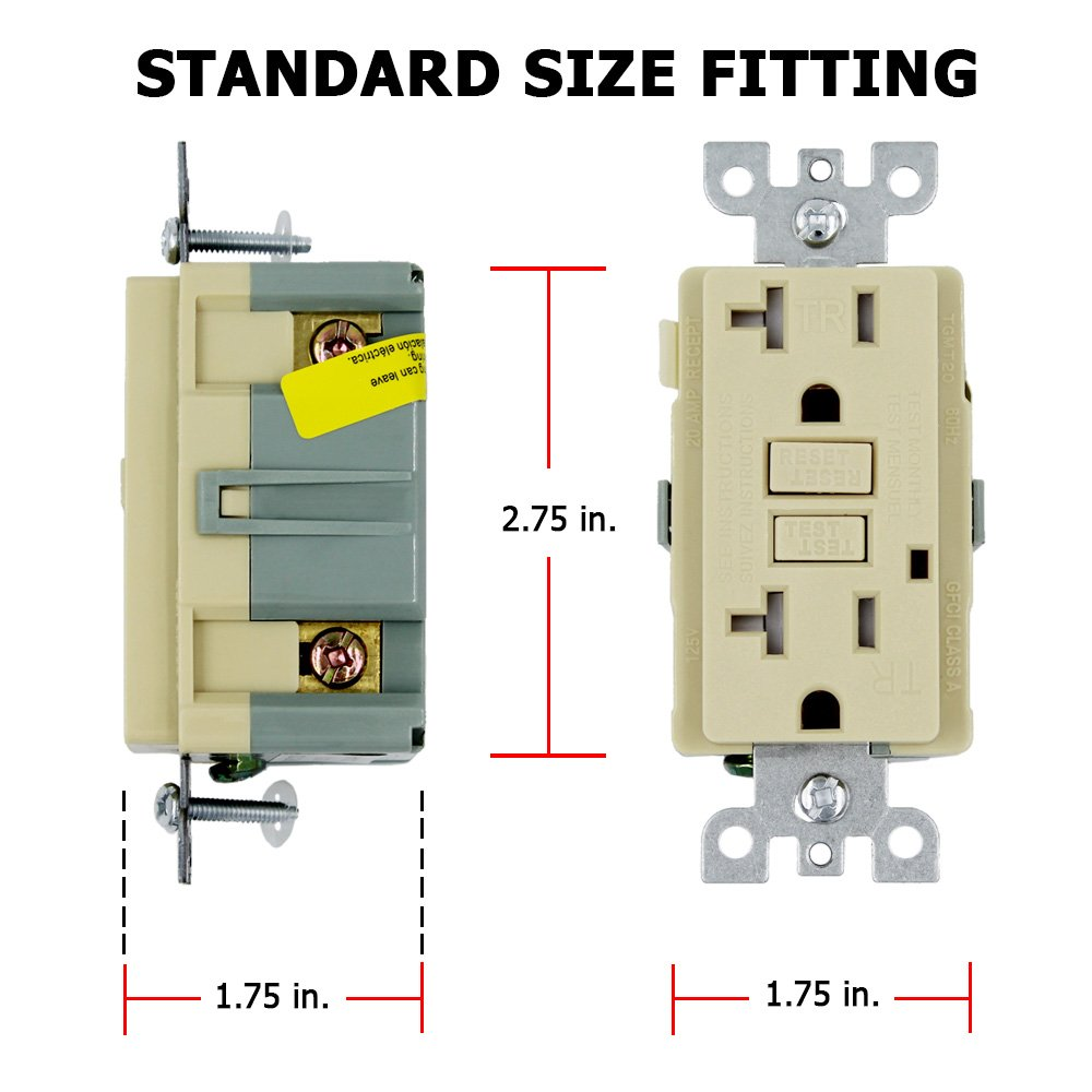 GFCI Wall Outlet Receptacle – 20 Amp, 125 Volt Tamper Resistant Duplex with LED Indicator Light. UL Listed and Comes with Wall plate and Screws (Ivory - 10PK) by ESD Tech (Image #3)