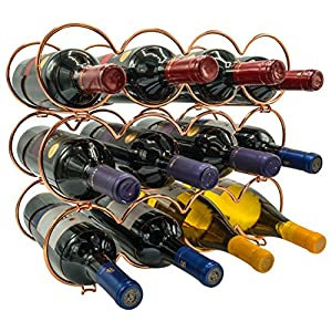 Sorbus 3-Tier Stackable Wine Rack – Round Classic Style Wine Racks for Bottles – Perfect for Bar, Wine Cellar, Basement, Cabinet, Pantry, etc – Hold 12 Bottles, Metal