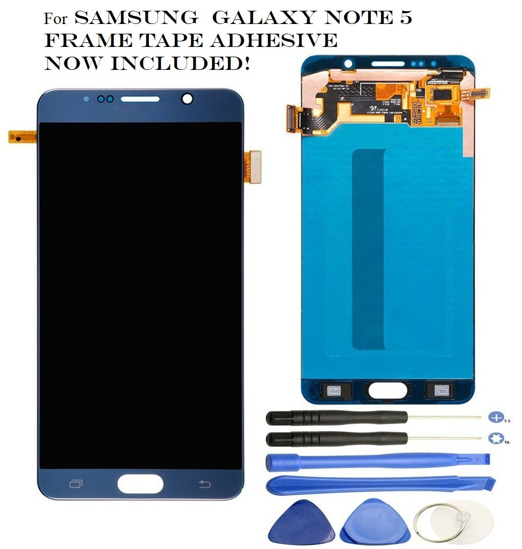 Galaxy Note 5 LCD - OEM Screen Replacement for Samsung Galaxy Note 5 - LCD Display Screen + Touch Digitizer Full Assembly, Compatible with N920T N920V N920P, Super AMOLED + Tools (Black/Blue Sapphire)
