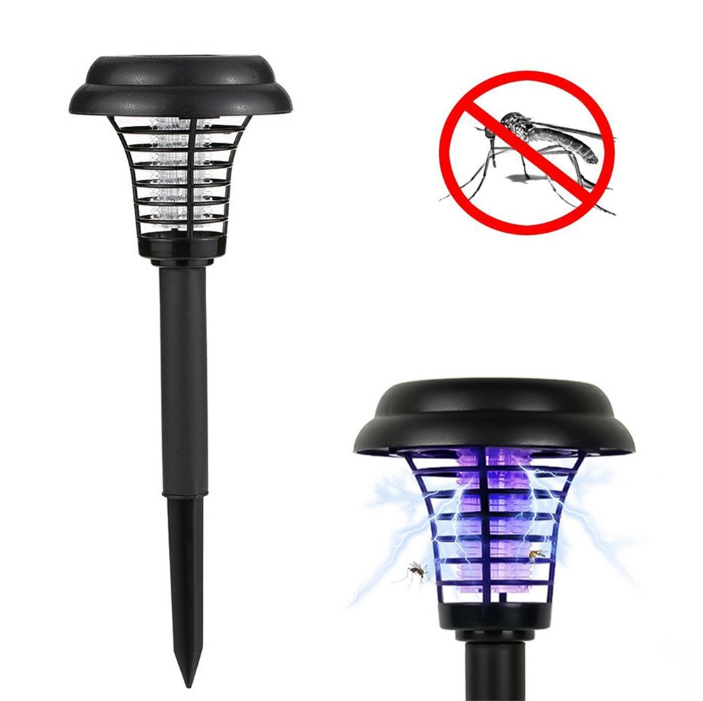 Portable Solar Mosquito Killer Lamp,Outdoor 2 in 1 Mosquito Repeller UV Light , LED Yard Garden Lawn Light, Larger Bug Zapper Light Whole Night Protect (Round)