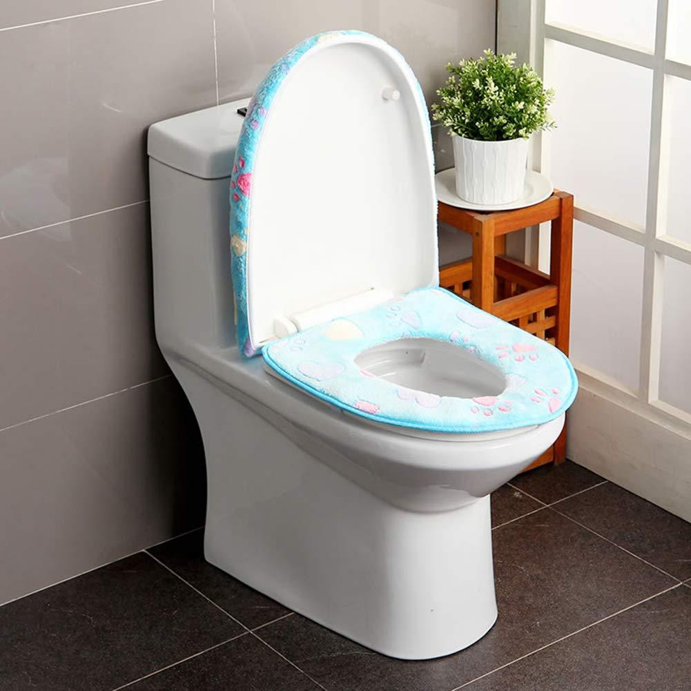 Sherineo Juego de 2 piezas alfombra de ba/ño de felpa suave funda de asiento de inodoro de lujo lavable a m/áquina- Gris f/ácil de instalar accesorios de inodoro impresos con flores
