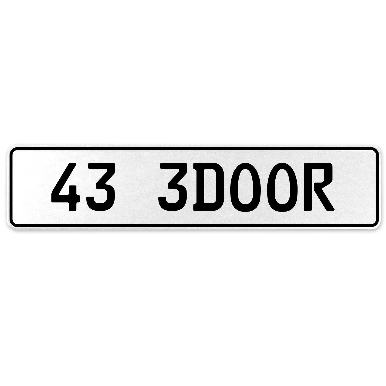 Vintage Parts 558006 43 3DOOR White Stamped Aluminum European License Plate