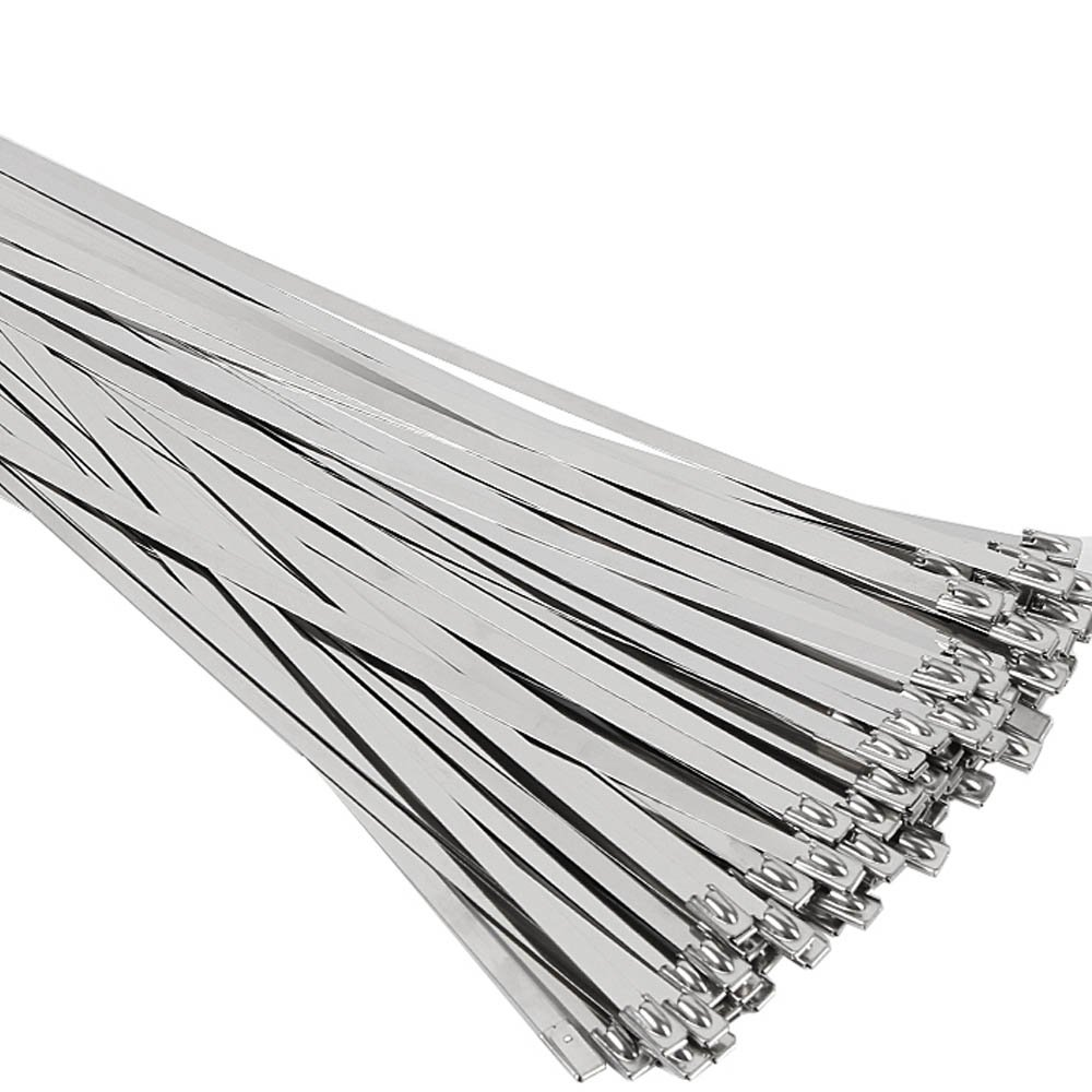 SunplusTrade 100pcs 11.8 Inches Stainless Steel Exhaust Wrap Multi-Purpose Locking Cable Metal Zip Ties 4330221878