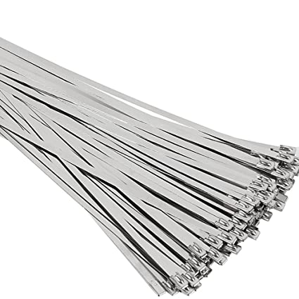 fcde664c8cd5 Amazon.com: SunplusTrade 100pcs 11.8 Inches Stainless Steel Exhaust Wrap  Multi-Purpose Locking Cable Metal Zip Ties: Home Improvement