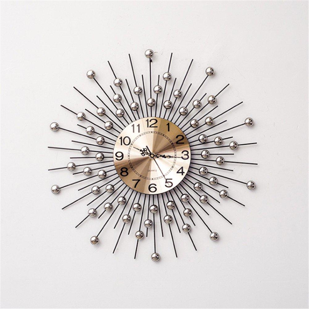 RFVBNM Classic european style home crystal drill iron mute wall clock living room bedroom creative 6060cm wall clock