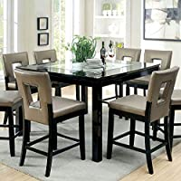 247SHOPATHOME Idf-3320PT-7PC Dining-Room, 7-Piece Set, Black