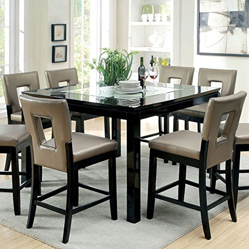 Millen Modern Style Gloss Black Lacqure Finish 7-Piece Counter Height Dining Set