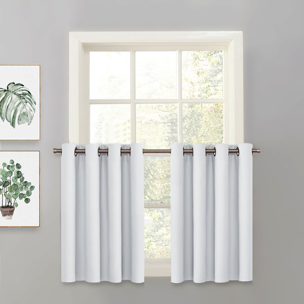 """PONY DANCE Greyish White Valance - Curtain Tier Room Darkening Thermal Insulated Chrome Top Blackout Drape Panel for Kitchen/Dining Room, 52"""" W x 36"""" L, One Piece"""