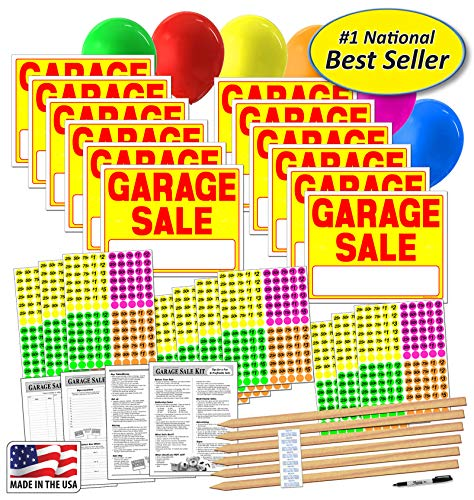 Garage Sale Sign Kit with Price Stickers and Wood Sign Stakes (A804G)
