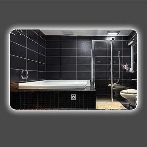 Baño Espejo_LED Lámpara Montado en la Pared Antiniebla Baño Baño Espejo Elegante Baño Inteligente Bluetooth Música Pantalla táctil Desempañador electrónico (Varios Estilos), 60X80 cm