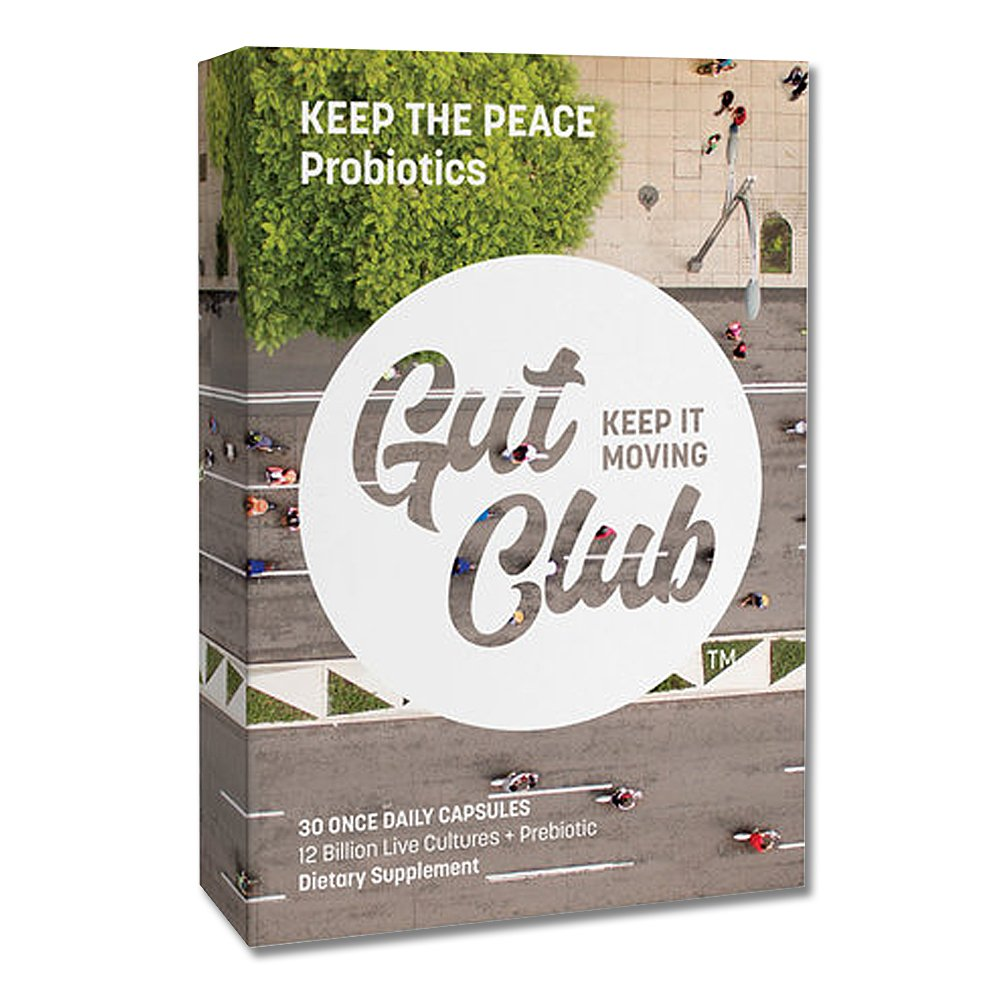Gut Club - Keep The Peace Daily Probiotic with Prebiotic, 12 Billion CFU, 30 Day Supply, Daily Digestive Support for Men & Women, Blister Sealed, (30 count)