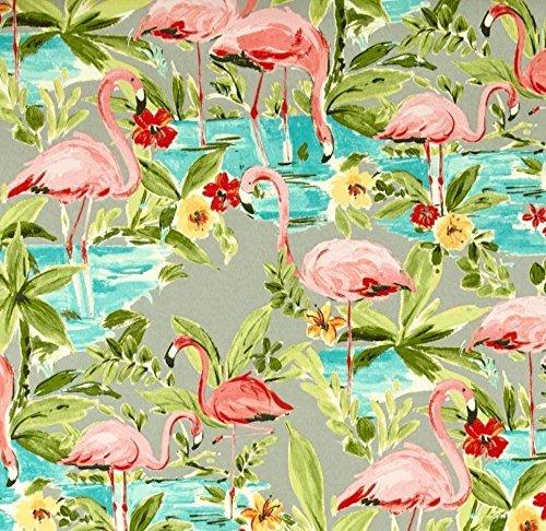 Indoor / Outdoor Fabric by the Yard - Waverly Sun N Shade Flamingoing Platinum - Gray Flamingo (Flamingo Outdoor Fabric)